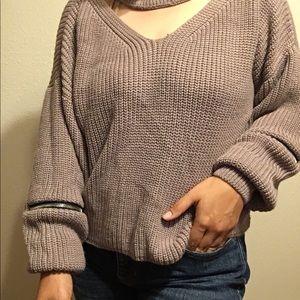 Yi Fang Cropped Sweater With Zipper Details